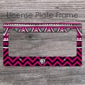 Fuchsia hippie style chevron aztec patterns monogrammed car frame